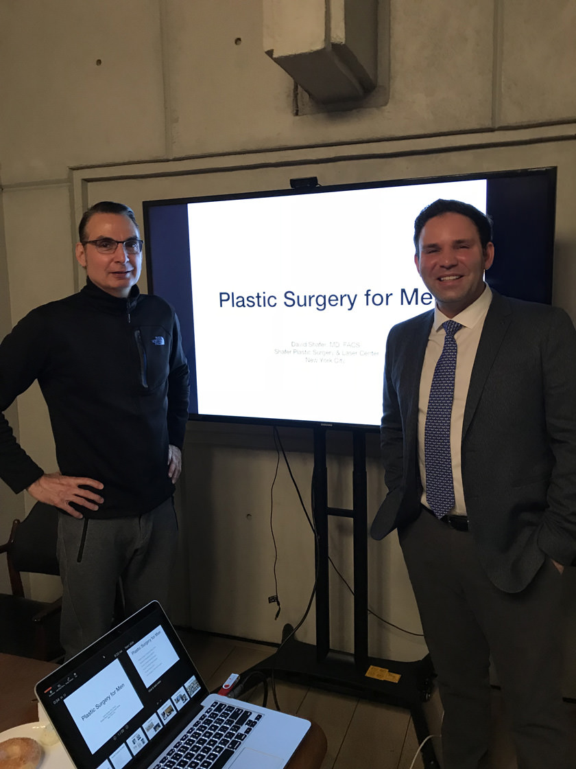 Dr. Shafer giving a talk on Plastic Surgery For Men at Spring Place